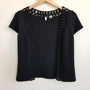 Anthropologie Moth Black Wool Blend Cardigan S